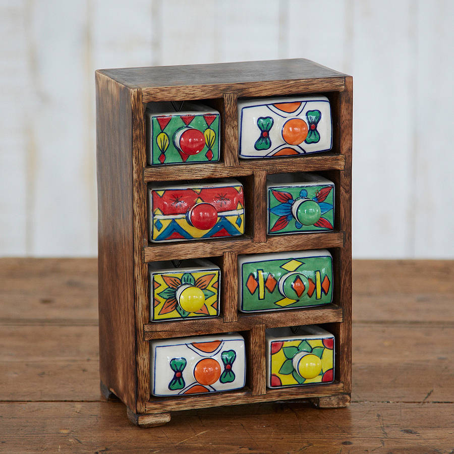 Mango Wood Eight Ceramic Drawer Set Ivip Blackbox